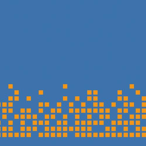 Pixel Orange auf Blau
